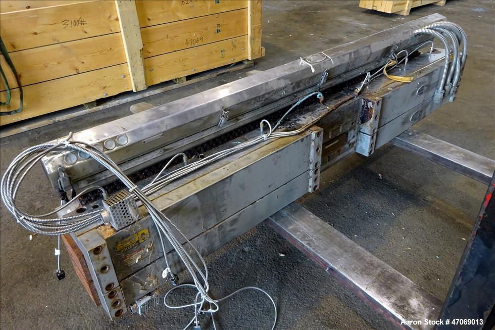 """Used- EDI Extrusion Dies 85"""" Wide Autoflex H40C Sheet Die. Approximately 4"""" wide x 3/4"""" tall back center feed. Lip opening 0..."""
