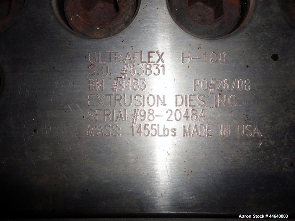 "Used- EDI Extrusion Dies 44"" Wide Ultraflex Sheet Die, Model H-100. Flexible upper lip, removable lower lip, back center fee..."