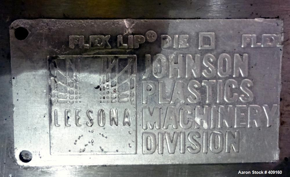 "Used- Johnson 21"" Wide Sheet Die, 15-5PH Stainless Steel. Coat hanger design, restrictor bar, and back center feed. Serial# ..."