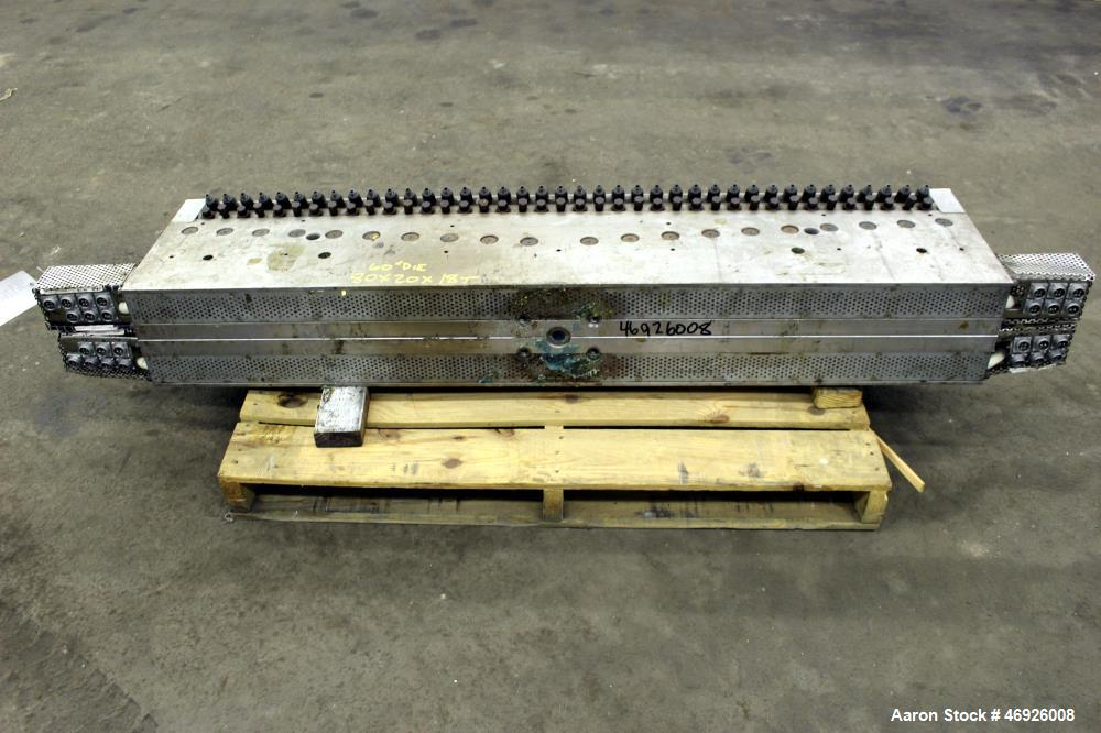 "Used- JSW Japan Steel Works 1530mm (60.2"") Wide Sheet Die, Model T-Die. Fixed lips, restrictor bar, back center feed with ad..."