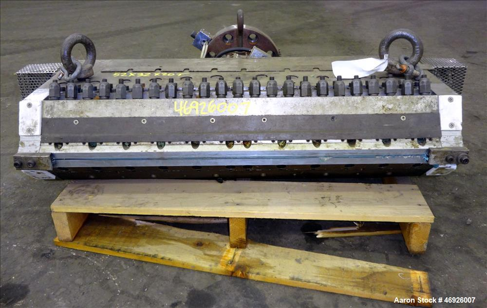 "Used- JSW Japan Steel Works 925mm (36.4"") Wide Sheet Die, Model T-Die. Fixed lips, restrictor bar, back center feed with ada..."