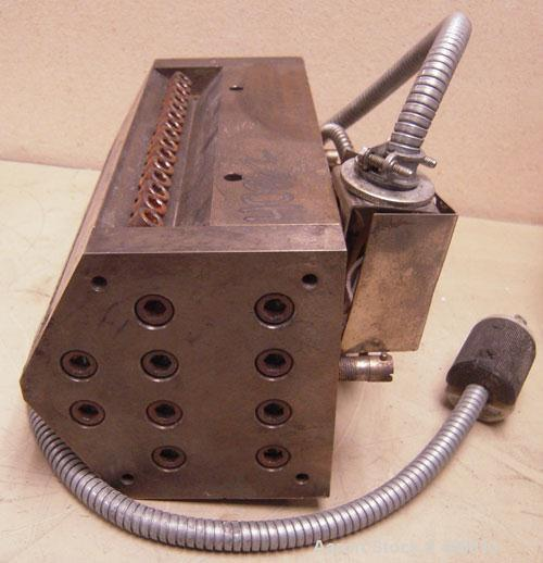 """Used- Sheet Die, 8"""" wide. 15-5 PH stainless steel. 1"""" back center feed."""