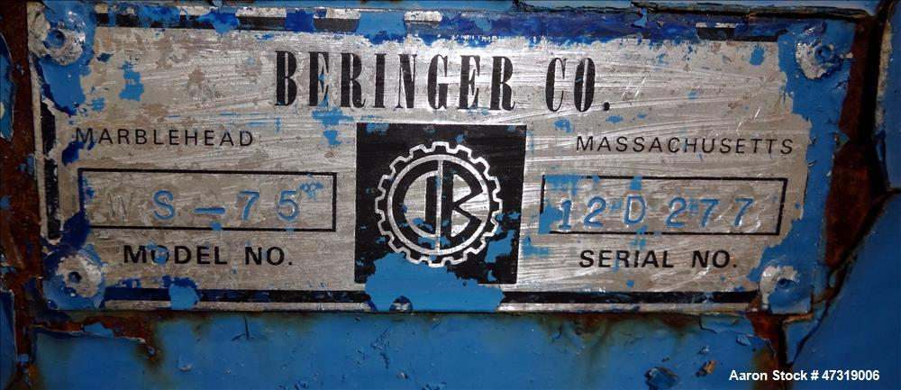 """Used- Beringer Air Knife, Model WS-75. Approximate 12"""" wide. New york blower, driven by a 5hp, 3/60/575 volt, 3470 rpm motor..."""
