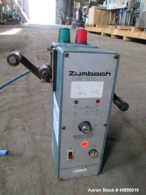 "Used- Zumbach Surface Fault Detector, Model KW20. 2.5"" Wide aperture with 2"" wide opening with idler rollers, serial #7190.0..."