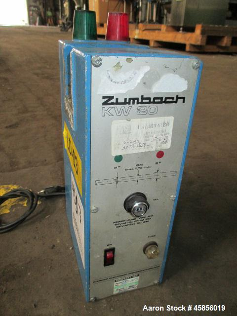"Used- Zumbach Surface Fault Detector, Model KW20. 2.5"" Wide aperture with 2"" wide opening with idler rollers, serial #3072.1..."