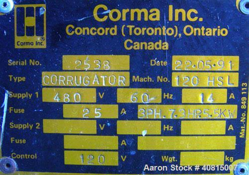 """Used- Corma Corrugator, Model 120HSL. Maximum line speed 125 feet per minute, approximate 3/4"""" mold blocks. Driven by an app..."""