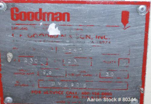 "USED: Goodman fly knife cutter. Can handle up to 4"" diameter. Driven by 3 hp 3/60/208-230/460 volt, 1140 rpm motor."