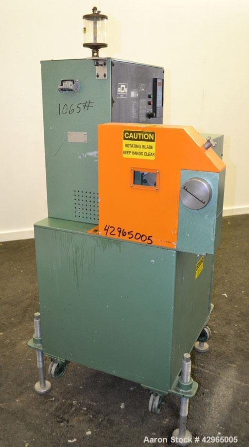 Used- RDN Rotocut Fly Knife Cutter, Model EMC-4DC. Single blade, driven by a 3hp, 180 volt, 1750/2050 rpm DC motor. Include...