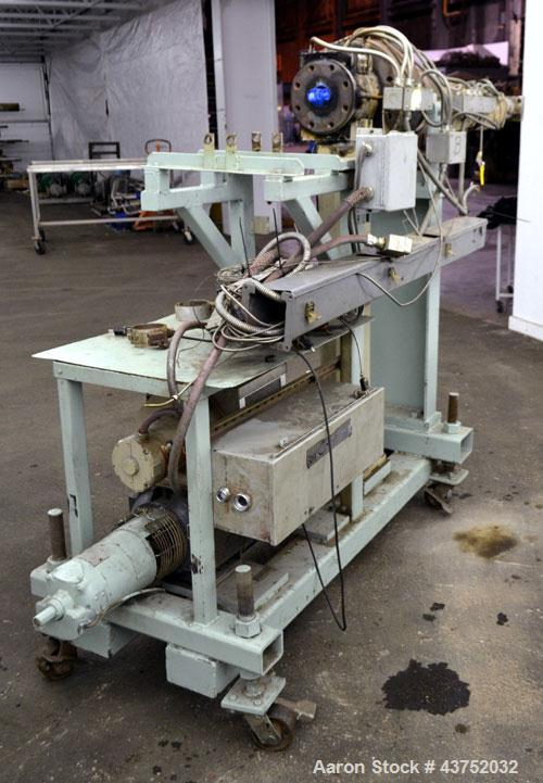Used- Maag Extrex Gear Pump, Model 56/56. Approximately 92.6 cubic meters per revolution Driven by a 10 hp, 500 volt, 1750 r...