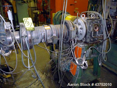 Used- Maag Extrex Gear Pump, Model EX90 4STE 10/0. Driven by a 30 hp DC motor with SCR control. Includes an operator panel f...