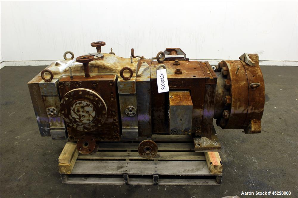 "Used- Maag Gear Pump, Model Polyrex 180/125, Carbon Steel. 3 Tons per hour. Includes a 5-1/4"" screen changer, shaft 8"" diame..."