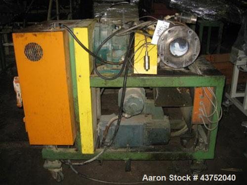 "Used- Maag Gear Pump. 10 Hp motor and control panel. Last used on a 4.5"", 200 hp extruder. Mouunted on a cart."