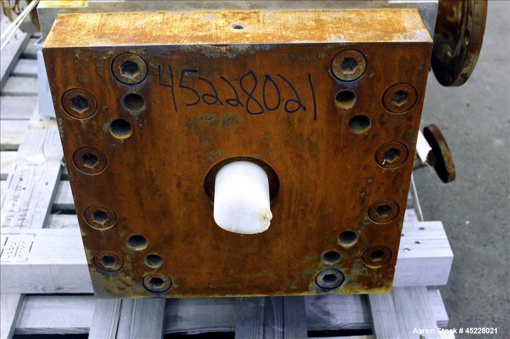 """Used- Maag Gear pump, Polyrex 180/125, Carbon Steel. 3 Tons per hour. Includes a 5-1/4"""" screen changer, shaft 8"""" diameter x ..."""