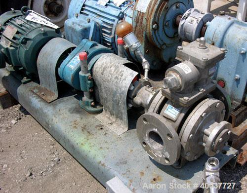 """Used- Blackmer Gear Pump, Model SNP2.5, stainless steel construction, 2.5"""" inlet/outlet, rated up to 155 gpm, on base with 7..."""