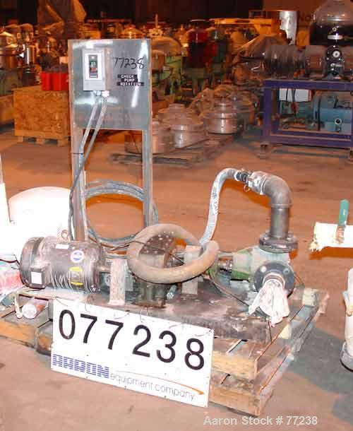 """Used- Viking Rotary Pump, Model K724. Approximately 35 gallons per minute at 420 rpm. 2"""" diameter inlet/outlet. Driven by a ..."""