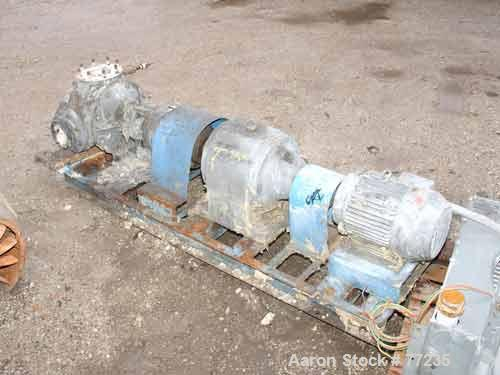 """Used- Viking Rotary Pump, Model Q125, Carbon Steel. Approximately 320 gallons per minute at 520 rpm, 4"""" diameter inlet/outle..."""