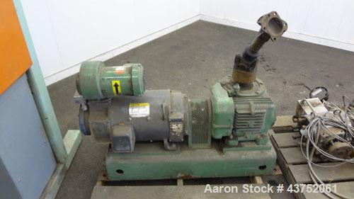 Used- Welex Gear Pump, Model GP 56. Driven by a 20Hp, 500 volt, 1750/2300 rpm DC motor thru a cone drive, ratio 10 to 1. Inc...
