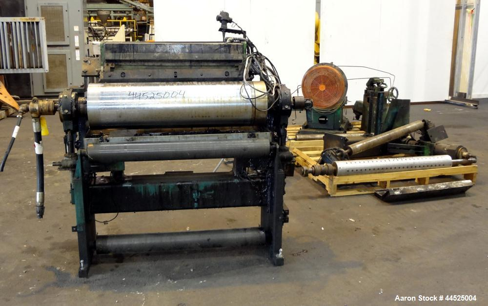 "Used- Genik Knife-Over-Roll Coater. 12"" diameter x 44"" face. single roll, chrome plated, water chilled with stationary scrap..."
