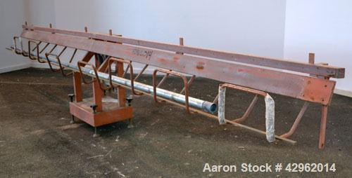"Used- Profile Dump Table, Carbon steel. Approximately 232"" long, air operated. Mounted on a frame."