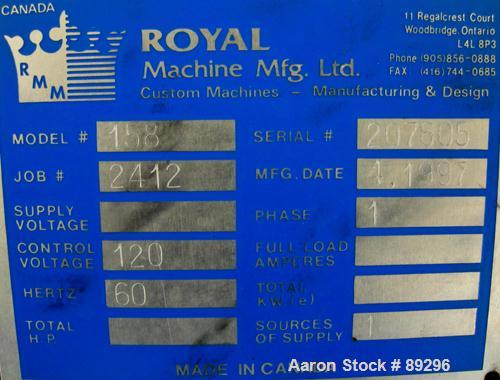 "USED: Royal Machine dual lane dump table, model 158. (2) 6"" wide x 236"" long pneumatically operated stainless steel rails. M..."