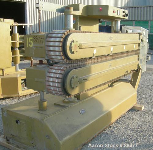 "USED: Becz Machine belt puller, model 051. (2) 8"" wide x 8' long contact area. Top belt motorized adjustment, bottom belt ma..."