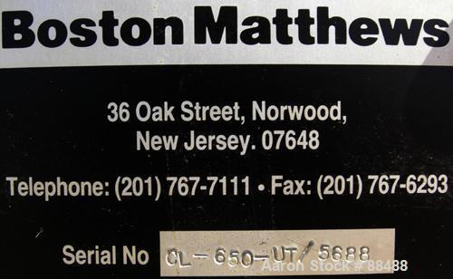 "USED: Boston Matthews belt puller, model CL650-UT. (2) Manually adjustable belts, 4-1/2"" wide x 42"" long contact area. Drive..."