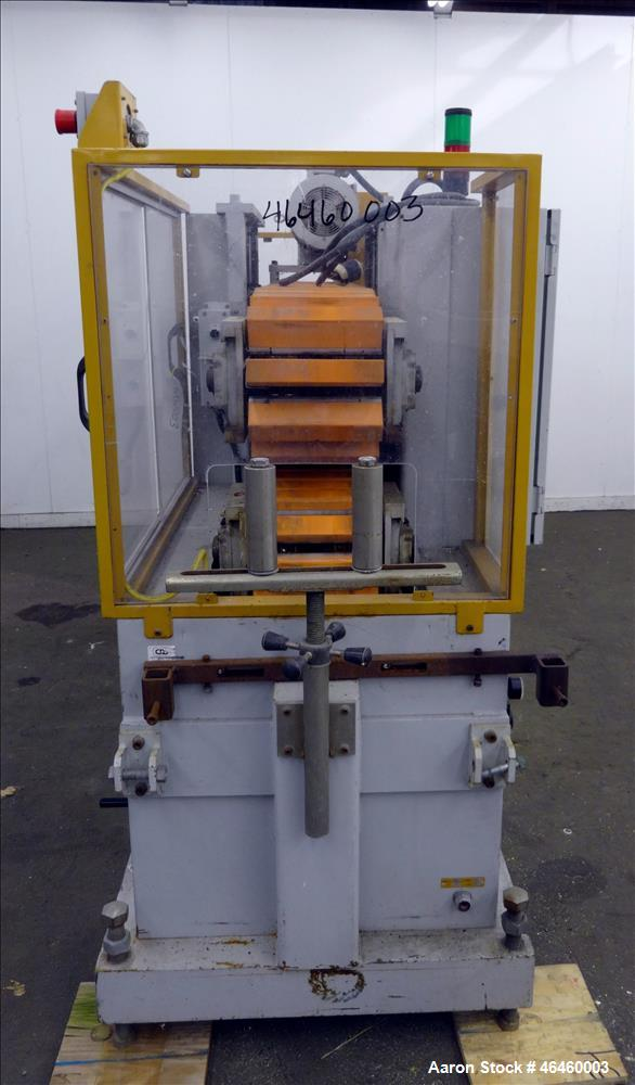 "Used- Custom Downstream Systems Cleated Puller, Model CCH 96-10Q. (2) 10"" Wide x 96"" long contact area cleated belts. Approx..."