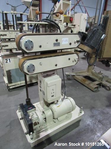 """Used- Farris Smooth Belt Puller, Model PB4. Belt measures 3.75"""" wide x 26"""" long. Includes 1.5 hp motor with multi-speed gear..."""