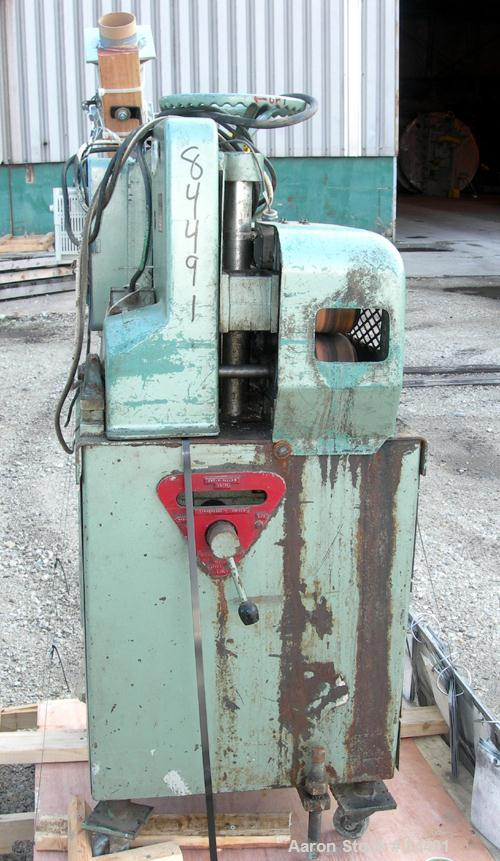 "Used- Gatto Belt Puller, Model 205-4. (2) 4"" Wide x 15"" contact area. Manually adjustable rubber belts. Driven by an approxi..."