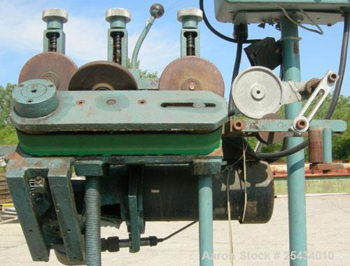 """Used-  Puller, """"V"""" Shaped.  (2)  2"""" wide x 12"""" long belts.  Manually adjustable height.  Driven by a 1/2 hp, 90 volt, 1725 r..."""