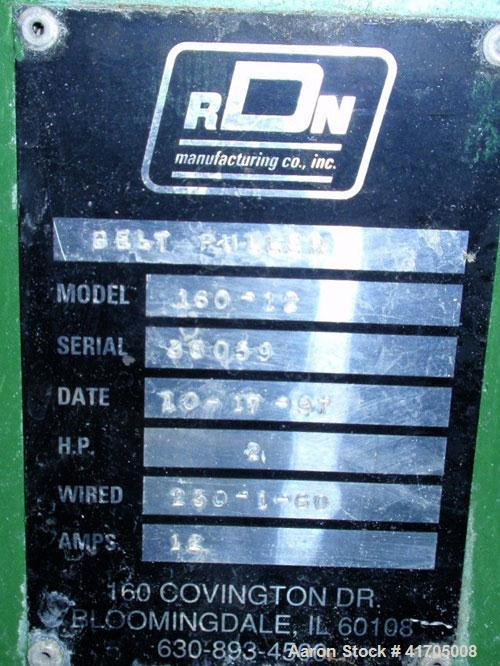 "Used- RDN Belt Puller, Model 160-12. 12"" wide x 60"" long belts, pneumatically adjustable. Driven by an approximate regulated..."