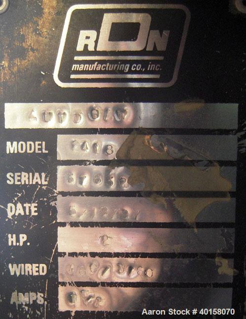 """Used- RDN Traveling Saw, model 2418. Approximate capacity 2"""" x 4"""" profile, 2"""" O.D. tubing. Driven by a 1 1/2 hp, 3/60/208-23..."""