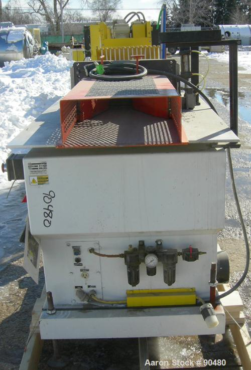 "USED: Conair traveling cut off saw, model MST-6. Upacting saw blade. Approximate 32"" x 52"" traveling table. Top air operated..."