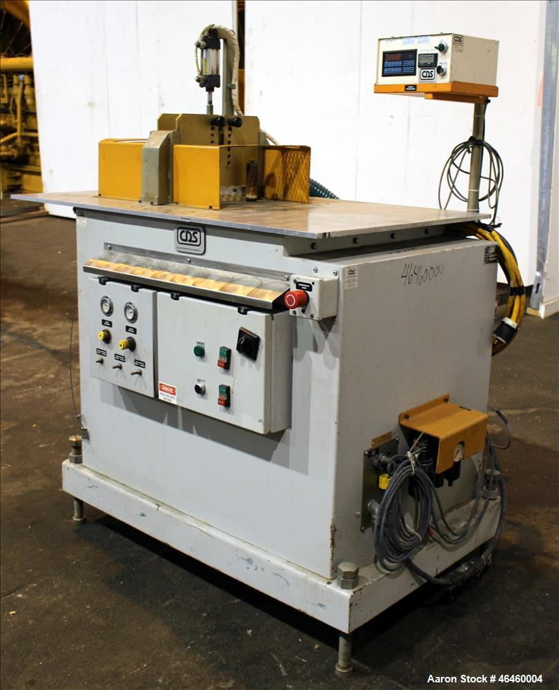 "Used- CDS Traveling Cut-off Saw, Model CTS 6.5-13D. Up acting blade, 18"" AC traveling table. Top hold down. Profile cut cros..."