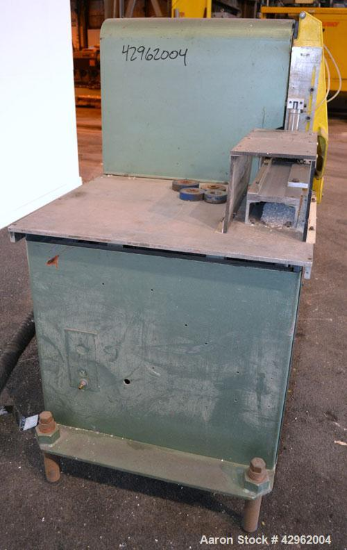 Used- Gatto Traveling Center Arm Saw, Model OPS-7-24. 20 Diameter blade, 24 table travel, 7 O.D. capacity, maximum 12 cuts p...