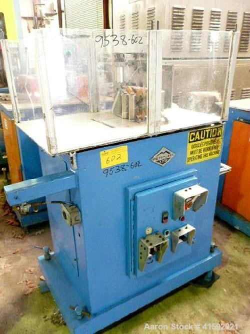 Used- Metaplast Traveling Cut Off Saw, Model MST-4. Up acting blade, 16.6'' traveling table. Top hold down. Pipe capacity 6'...