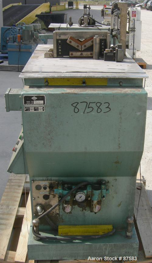 Used- Metaplast Air Traveling Cut Off Saw, Model MST-4. Top air operated hold down. Requires motor and saw blade.