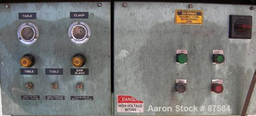 "Used- Metaplast Air Traveling Cut Off Saw, Model MST-4. 12"" Diameter up acting blade, traveling table. Top air operated hold..."
