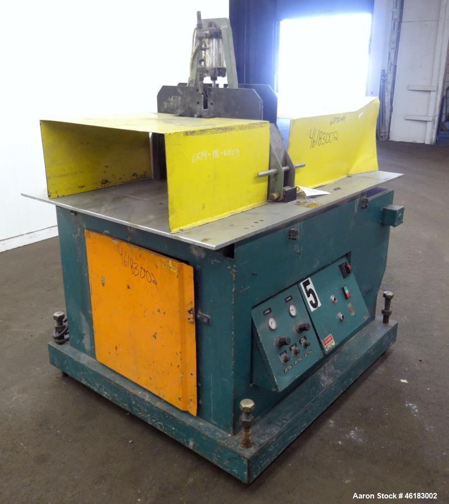 "Used- Metaplast Air Traveling Cut Off Saw, Model MST8. Approximately 18"" diameter up acting blade (blade required), 58"" long..."