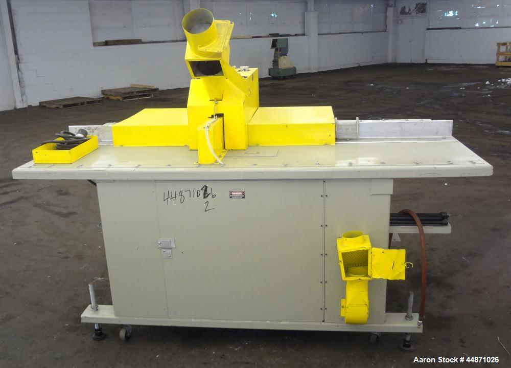 Used- Michigan Plastics Machinery Traveling Chop-Cut Saw.  Blade driven by a 1.5 hp, 3/60/208-230/460 volt, 3500 rpm motor. ...