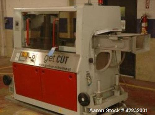 Used- Greiner Traveling Cut Off Saw, Model GET CUT S/500. Approximate 18'' diameter blade, 320 x 140 maximum profile width a...