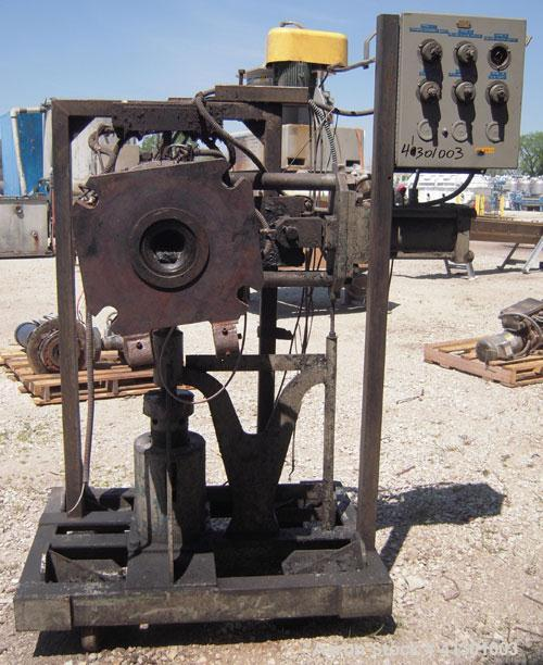 Used- 4'' Hydraulic Screen Changer. Includes a control panel. Mounted on a carbon steel frame with casters.Requires a power ...