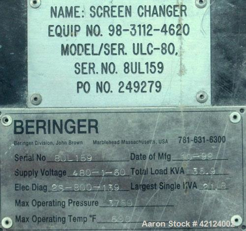 Used- Beringer 8'' (200mm) Ultra-Lock Slide Plate Hydraulic Screen Changer, Model ULC-80. Dual breaker plates. Includes a Be...