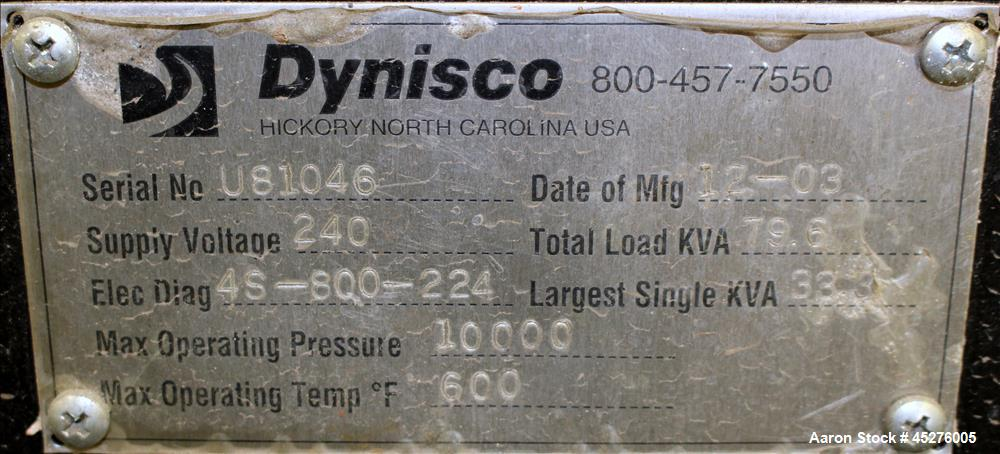 """Used- Dynisco Ultra Lock Slide Plate Screen Changer, Model ULC80H. 8"""" Diameter. No hydraulic pump included for screen change..."""