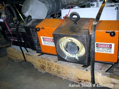 "Used- Entek 2-1/2"" Hydraulic Screen Changer, Model HSC-25M. Dual breaker plates. Includes a 2hp, 230/460 volt hydraulic unit."