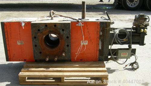 """Used-Extek model HSC-1000 hydraulically operated 10"""" screen changer. Slide plate design. Includes breaker plate. Also includ..."""