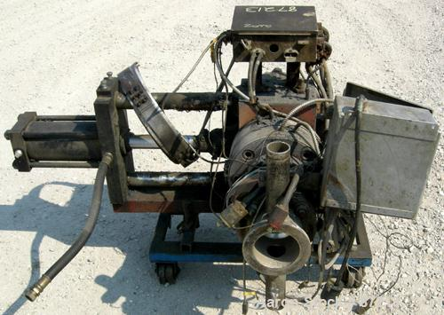 "USED: MGB 6"" hydraulic screen changer, model 6000. Mounted on a frame with casters. No power pack."