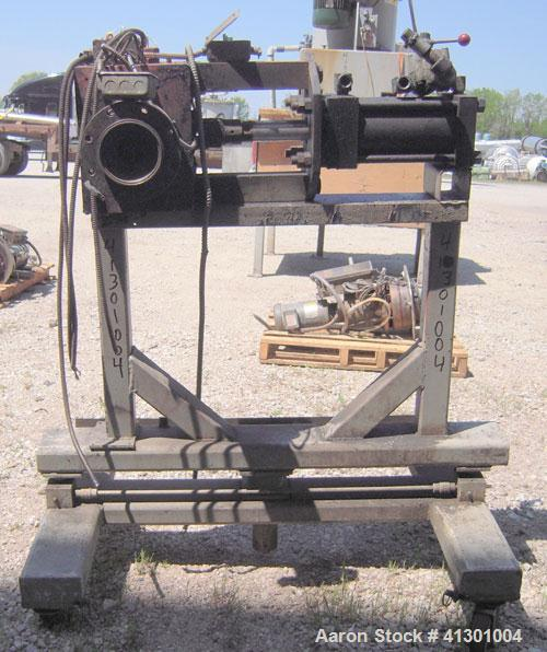 """Used- Approximate 3"""" Hydraulic Screen Changer.  Mounted on a carbon steel frame with casters.  Requires a screen holder and ..."""