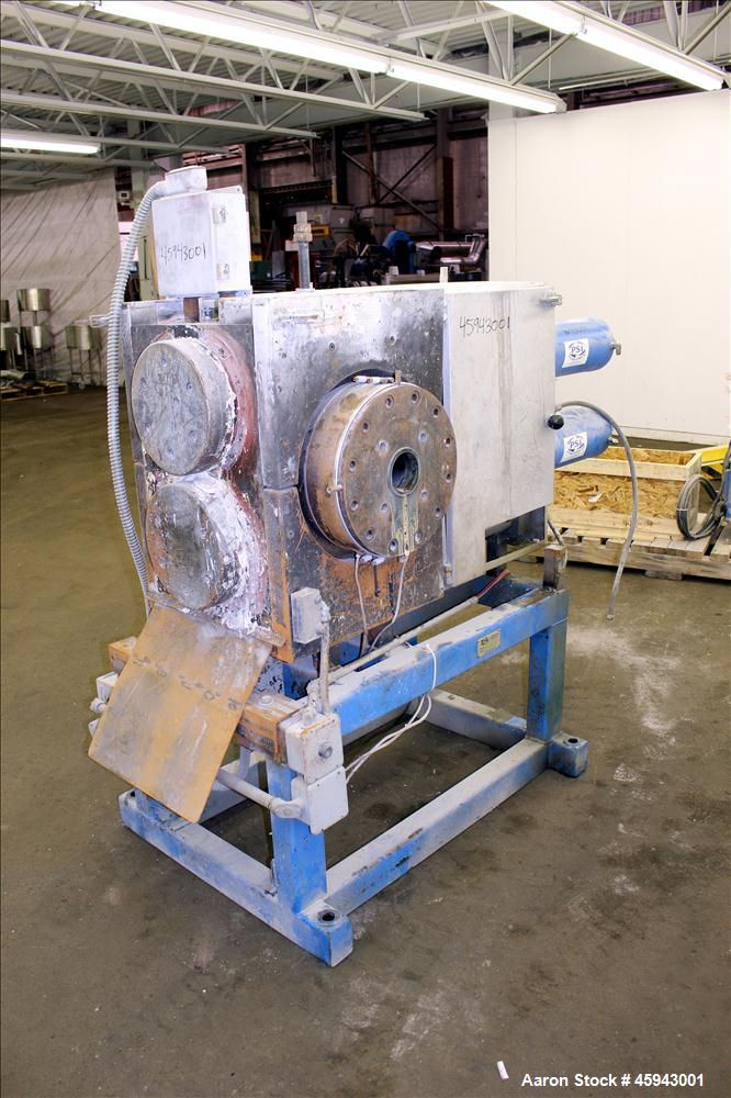 """Used- PSI Polymer Systems Inc. Continuous Screen Changer, Model CSC-230. Consists of (2) 9"""" diameter breaker plates with fil..."""