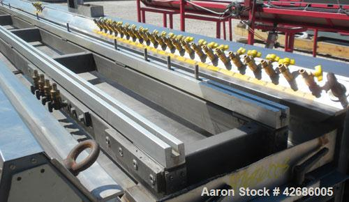 Used-Crown Vacuum Calibrating Table, Model CMZDY. Stainless steel pan 24'' wide x 231'' long x approximately 3-3/4'' deep. ...